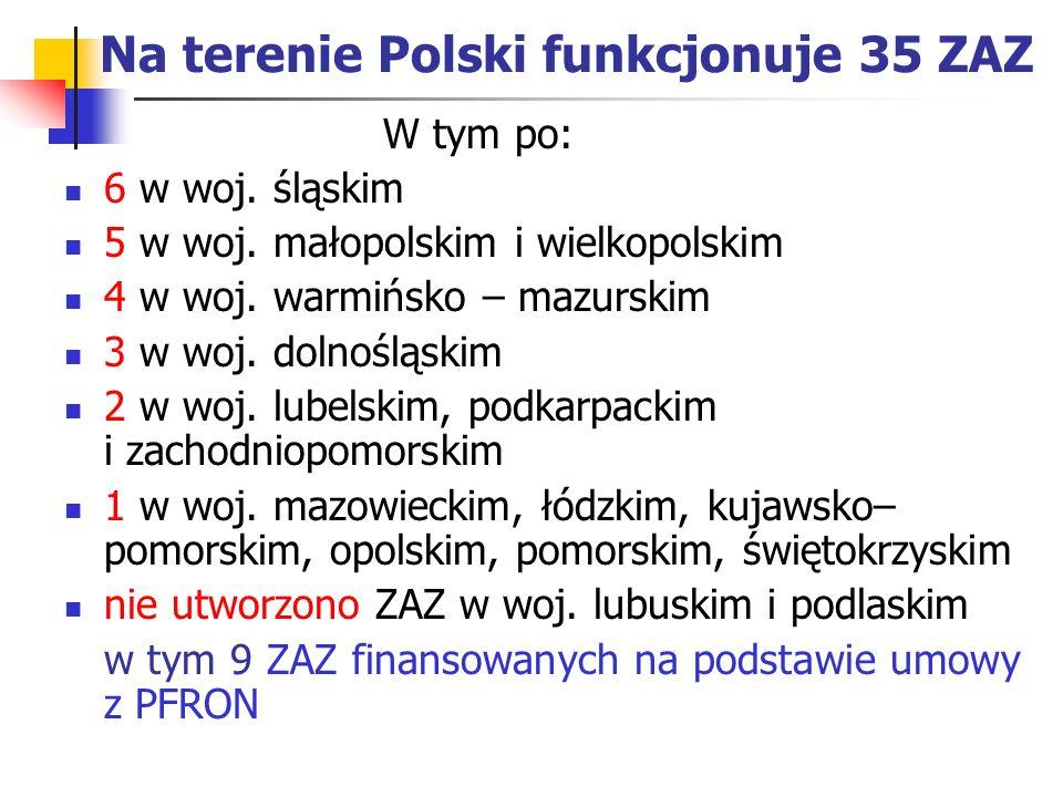 Na terenie Polski funkcjonuje 35 ZAZ W tym po: 6 w woj. śląskim 5 w woj. małopolskim i wielkopolskim 4 w woj. warmińsko – mazurskim 3 w woj. dolnośląs