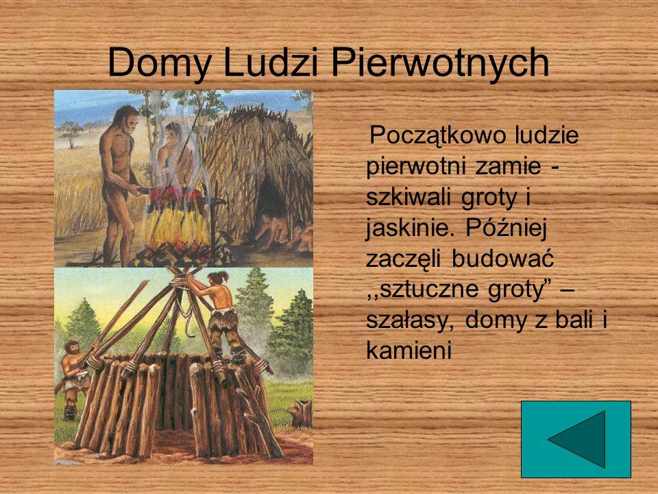 Domy Ludzi Pierwotnych Początkowo ludzie pierwotni zamie - szkiwali groty i jaskinie.