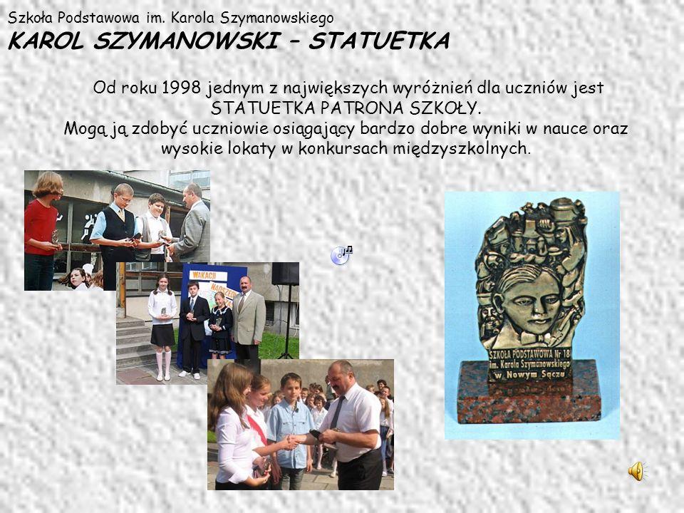Szkoła Podstawowa im. Karola Szymanowskiego KAROL SZYMANOWSKI – STATUETKA Od roku 1998 jednym z największych wyróżnień dla uczniów jest STATUETKA PATR