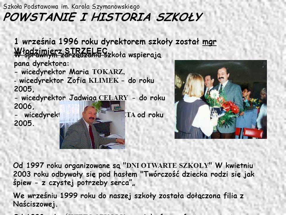 Szkoła Podstawowa im. Karola Szymanowskiego POWSTANIE I HISTORIA SZKOŁY 1 września 1996 roku dyrektorem szkoły został mgr Włodzimierz STRZELEC. W spra