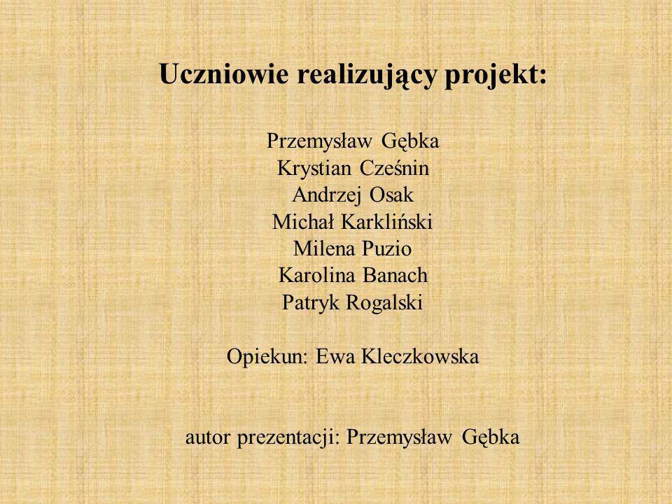 Uczniowie realizujący projekt: Przemysław Gębka Krystian Cześnin Andrzej Osak Michał Karkliński Milena Puzio Karolina Banach Patryk Rogalski Opiekun: