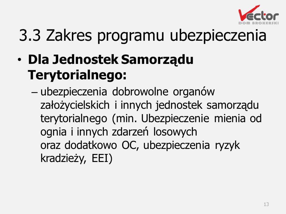 Dla Jednostek Samorządu Terytorialnego: – ubezpieczenia dobrowolne organów założycielskich i innych jednostek samorządu terytorialnego (min. Ubezpiecz