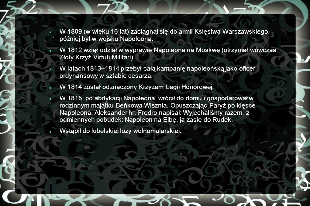 Krótkie informacje z życia Aleksandra Aleksander Fredro poślubił Zofię Skarbkową, która wniosła w posagu połowę zamku w Odrzykoniu pod Krosnem.