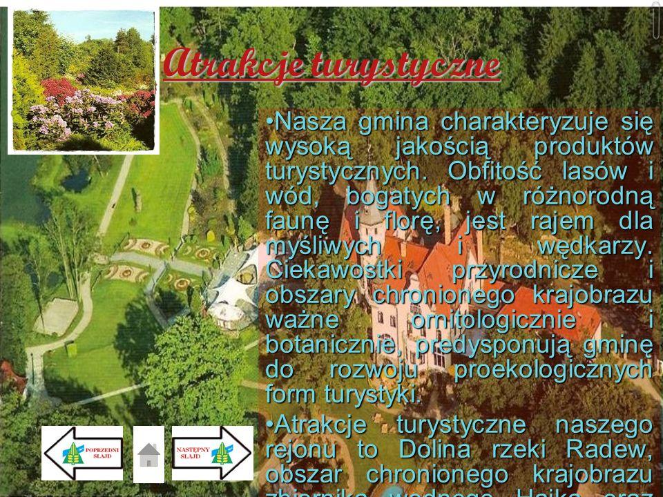 Atrakcje turystyczne NaszaNasza gmina charakteryzuje się wysoką jakością produktów turystycznych. Obfitość lasów i wód, bogatych w różnorodną faunę i