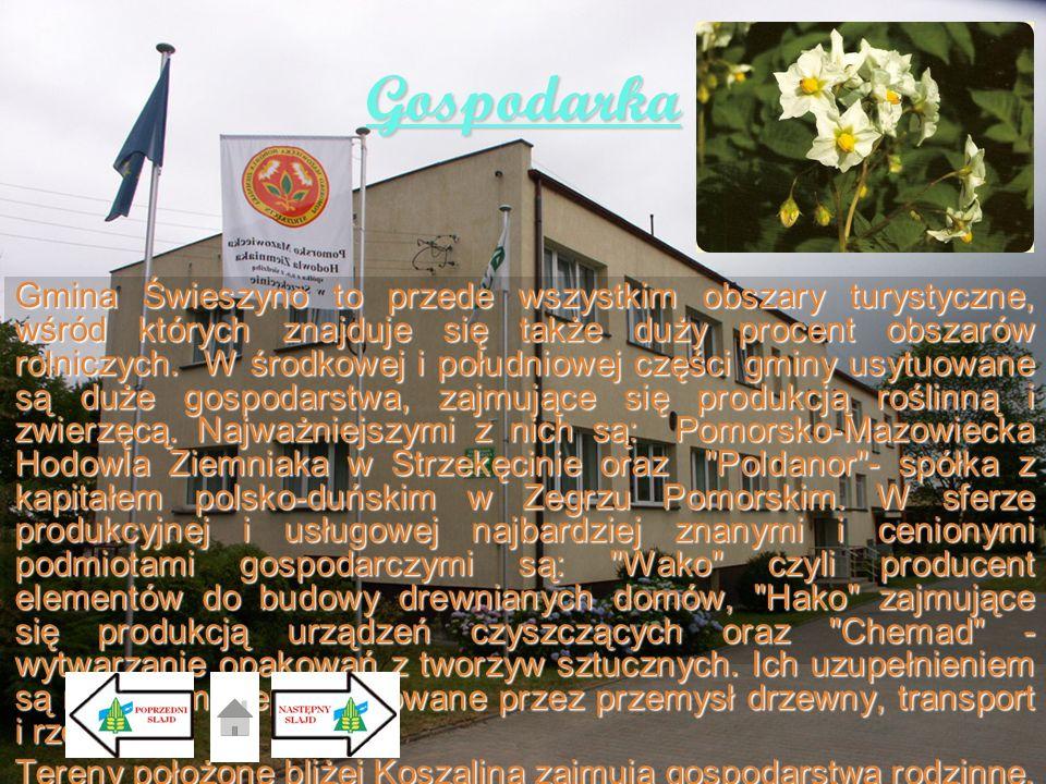 Gospodarka Gmina Świeszyno to przede wszystkim obszary turystyczne, wśród których znajduje się także duży procent obszarów rolniczych. W środkowej i p