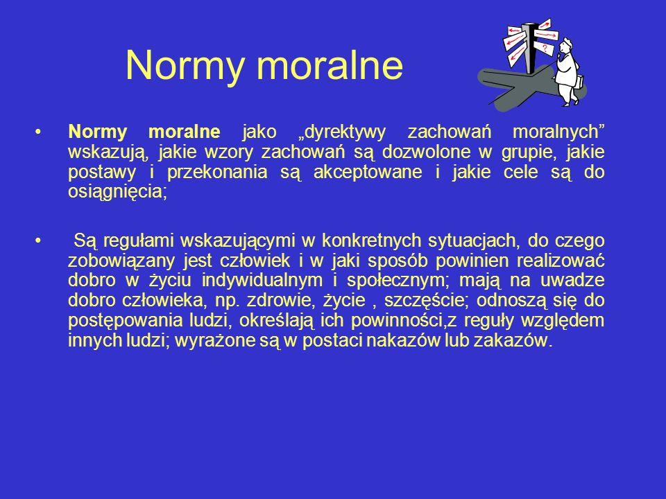 Normy moralne Normy moralne jako dyrektywy zachowań moralnych wskazują, jakie wzory zachowań są dozwolone w grupie, jakie postawy i przekonania są akc