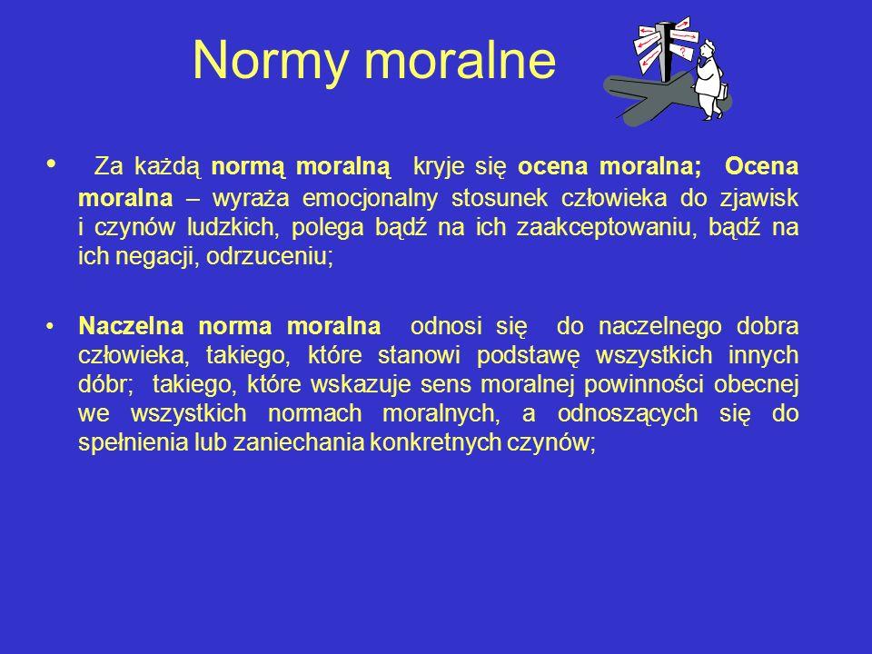 Normy moralne Za każdą normą moralną kryje się ocena moralna; Ocena moralna – wyraża emocjonalny stosunek człowieka do zjawisk i czynów ludzkich, pole