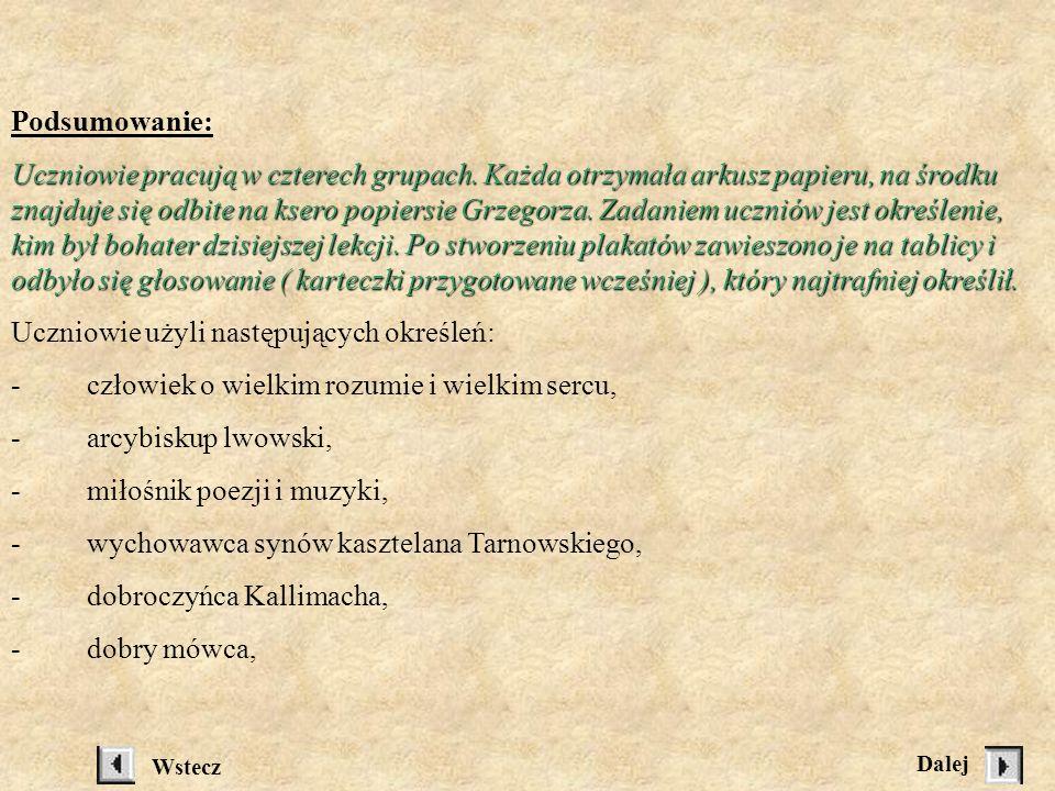 Ślady Grzegorza w kulturze naszego miasta, Uczniowie wymieniają znane im miejsca, zaznaczając niektóre na skserowanej mapce Sanoka: Sanoka: - nazwa ul