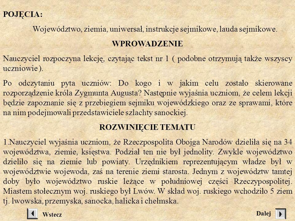 Jak szlachta sanocka sejmikowała.TEMAT: Jak szlachta sanocka sejmikowała.