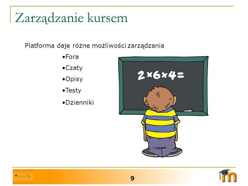 Zarządzanie kursem 9 Platforma daje różne możliwości zarządzania Fora Czaty Opisy Testy Dzienniki