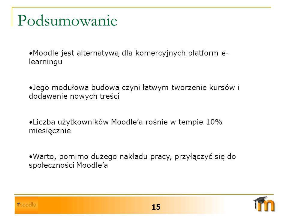 Podsumowanie 15 Moodle jest alternatywą dla komercyjnych platform e- learningu Jego modułowa budowa czyni łatwym tworzenie kursów i dodawanie nowych treści Liczba użytkowników Moodlea rośnie w tempie 10% miesięcznie Warto, pomimo dużego nakładu pracy, przyłączyć się do społeczności Moodlea
