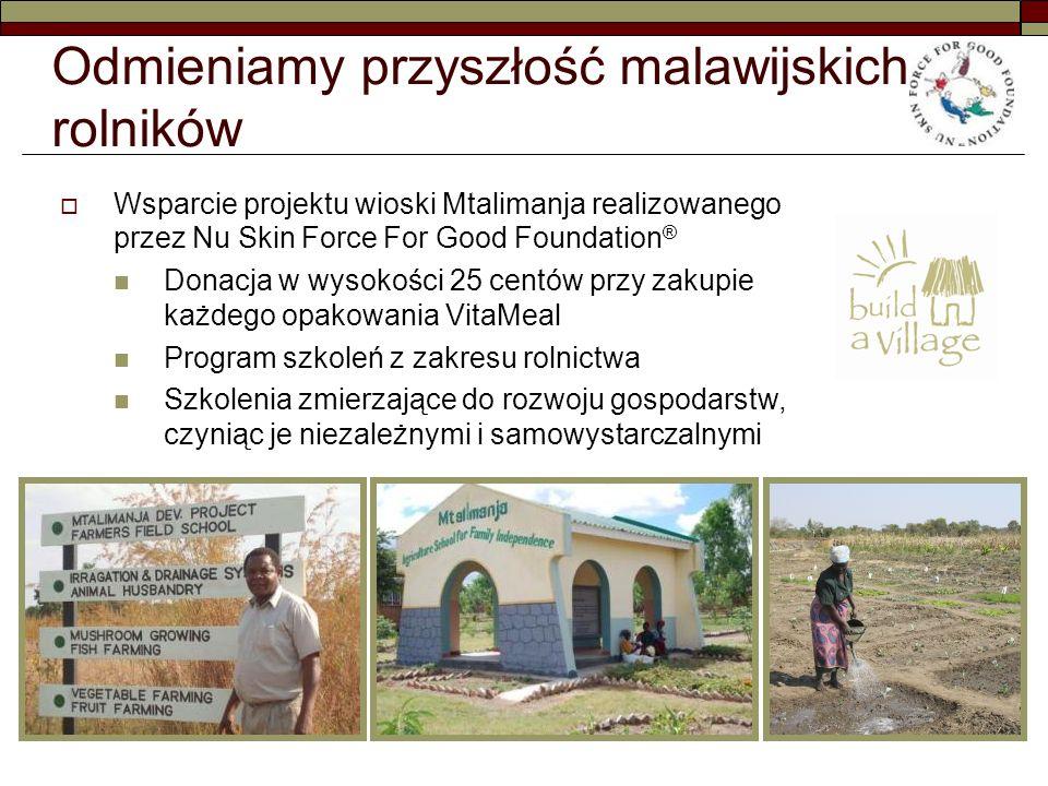 Odmieniamy przyszłość malawijskich rolników Wsparcie projektu wioski Mtalimanja realizowanego przez Nu Skin Force For Good Foundation ® Donacja w wysokości 25 centów przy zakupie każdego opakowania VitaMeal Program szkoleń z zakresu rolnictwa Szkolenia zmierzające do rozwoju gospodarstw, czyniąc je niezależnymi i samowystarczalnymi