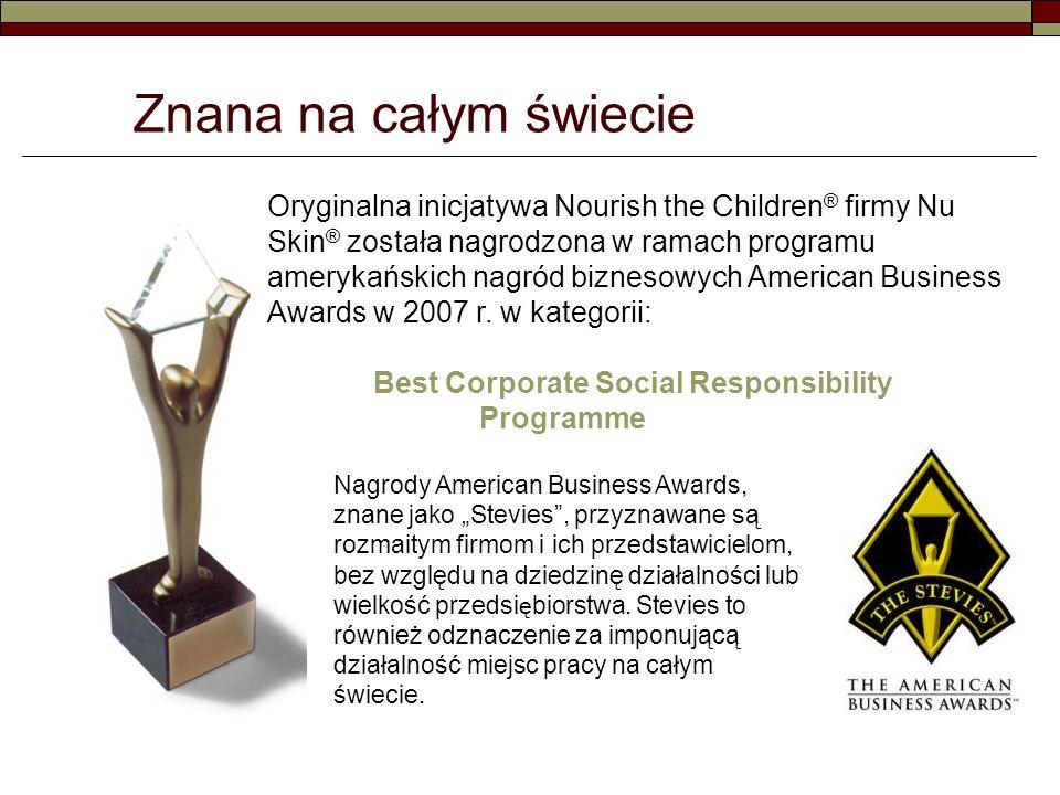 Znana na całym świecie Oryginalna inicjatywa Nourish the Children ® firmy Nu Skin ® została nagrodzona w ramach programu amerykańskich nagród biznesowych American Business Awards w 2007 r.