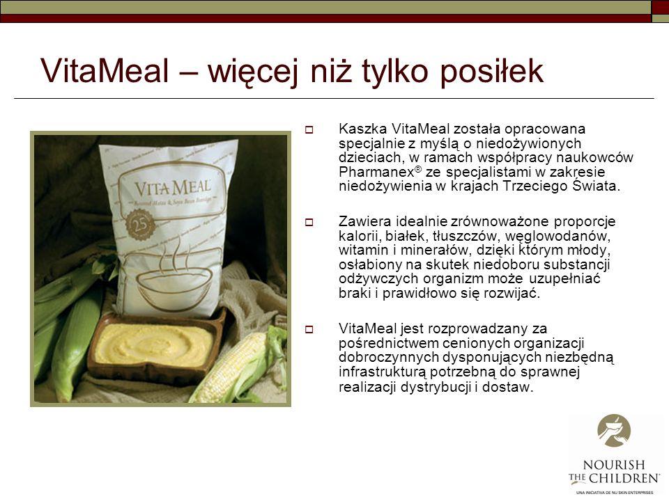 VitaMeal – więcej niż tylko posiłek Kaszka VitaMeal została opracowana specjalnie z myślą o niedożywionych dzieciach, w ramach współpracy naukowców Pharmanex ® ze specjalistami w zakresie niedożywienia w krajach Trzeciego Świata.