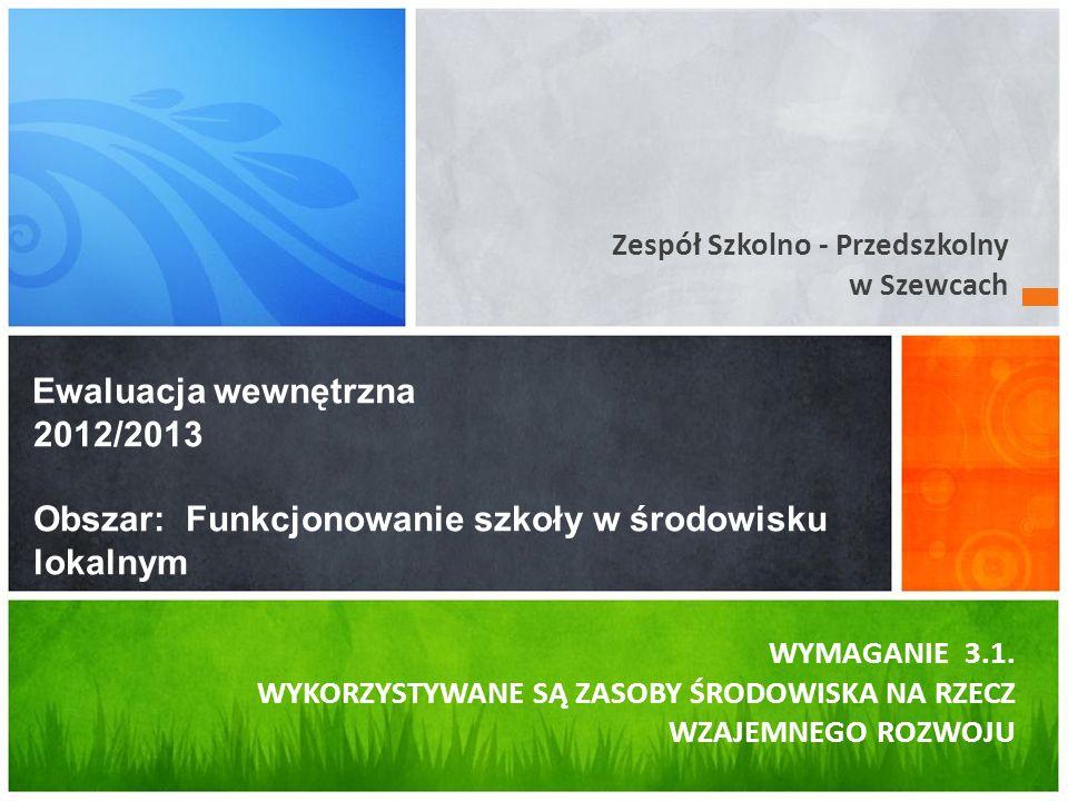 Zespół Szkolno - Przedszkolny w Szewcach Ewaluacja wewnętrzna 2012/2013 Obszar: Funkcjonowanie szkoły w środowisku lokalnym WYMAGANIE 3.1.