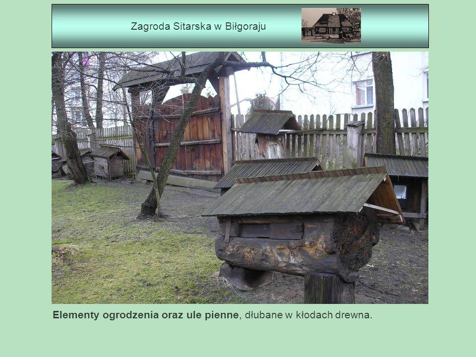Zagroda Sitarska w Biłgoraju Elementy ogrodzenia oraz ule pienne, dłubane w kłodach drewna.