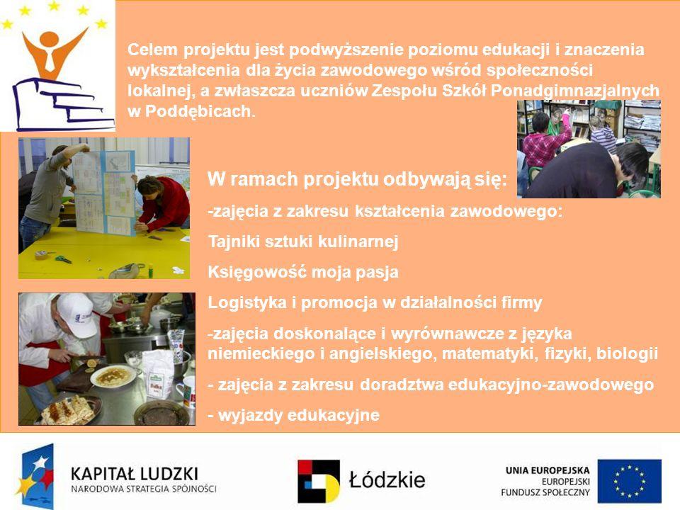 Celem projektu jest podwyższenie poziomu edukacji i znaczenia wykształcenia dla życia zawodowego wśród społeczności lokalnej, a zwłaszcza uczniów Zesp