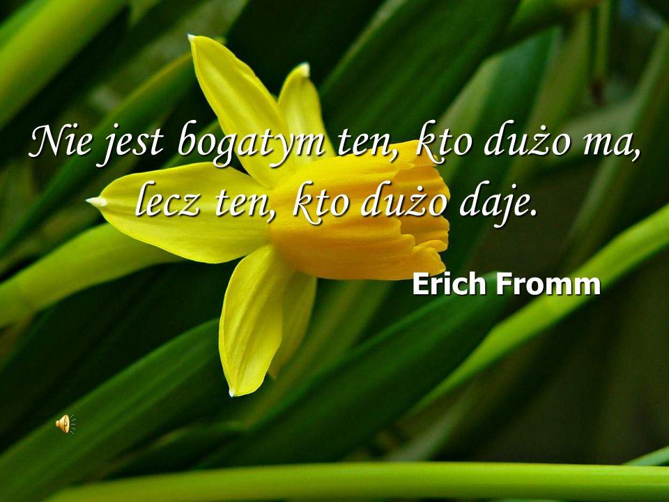 Nie jest bogatym ten, kto dużo ma, lecz ten, kto dużo daje. Erich Fromm