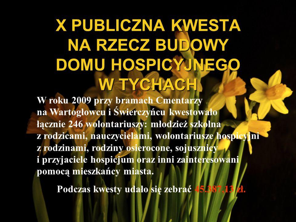X PUBLICZNA KWESTA NA RZECZ BUDOWY DOMU HOSPICYJNEGO W TYCHACH W roku 2009 przy bramach Cmentarzy na Wartogłowcu i Świerczyńcu kwestowało łącznie 246