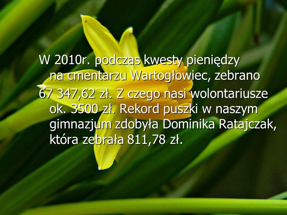 ` W 2010r. podczas kwesty pieniędzy na cmentarzu Wartogłowiec, zebrano 67 347,62 zł. Z czego nasi wolontariusze ok. 3500 zł. Rekord puszki w naszym gi