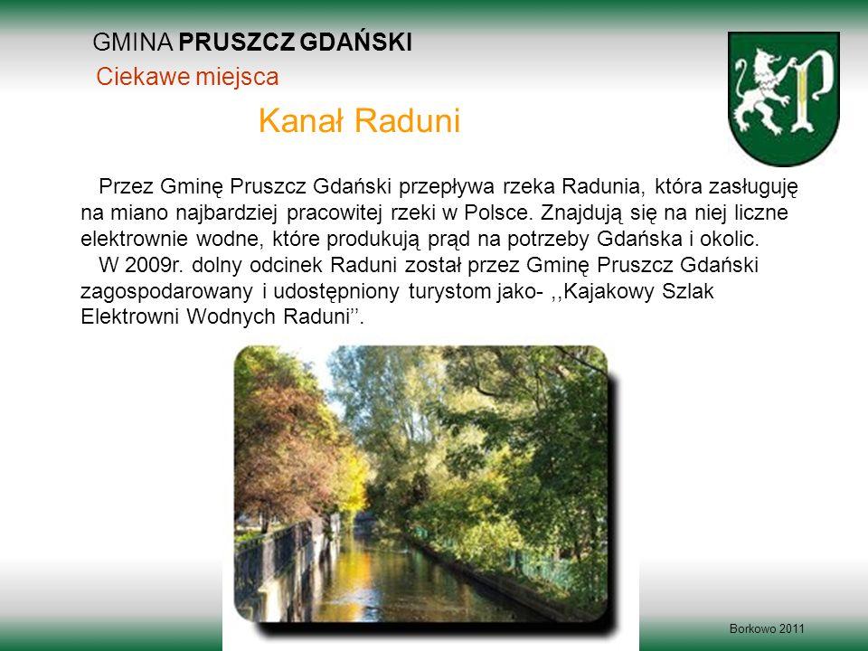 GMINA PRUSZCZ GDAŃSKI Borkowo 2011 Przez Gminę Pruszcz Gdański przepływa rzeka Radunia, która zasługuję na miano najbardziej pracowitej rzeki w Polsce