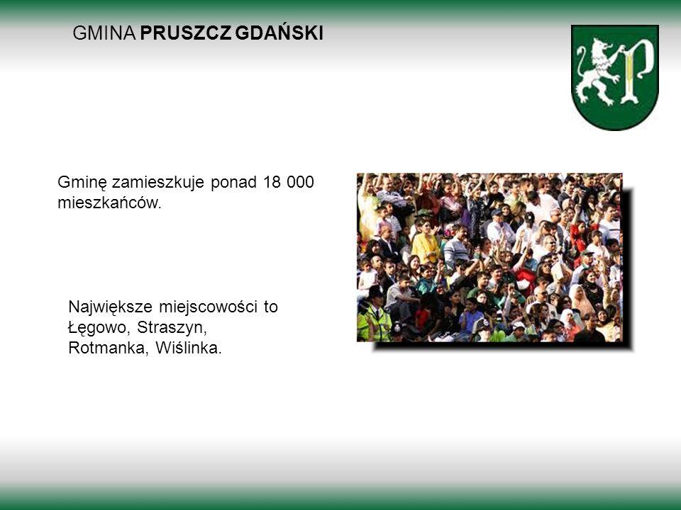 GMINA PRUSZCZ GDAŃSKI Borkowo 2011 Gminę zamieszkuje ponad 18 000 mieszkańców. Największe miejscowości to Łęgowo, Straszyn, Rotmanka, Wiślinka.