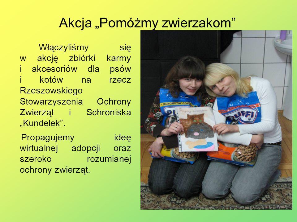 Akcja Pomóżmy zwierzakom Włączyliśmy się w akcję zbiórki karmy i akcesoriów dla psów i kotów na rzecz Rzeszowskiego Stowarzyszenia Ochrony Zwierząt i Schroniska Kundelek.