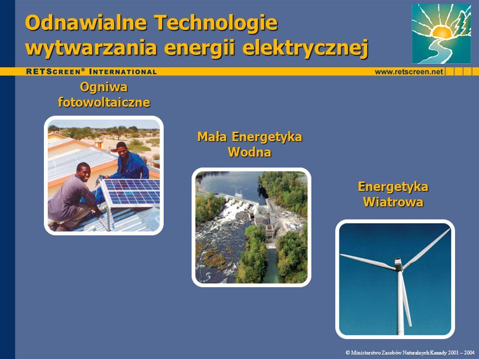 Odnawialne Technologie wytwarzania energii elektrycznej © Ministerstwo Zasobów Naturalnych Kanady 2001 – 2004 Ogniwa fotowoltaiczne Mała Energetyka Wo