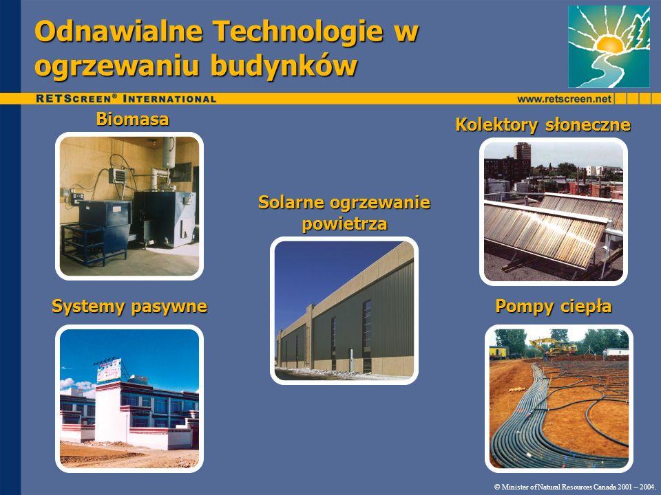 Odnawialne Technologie w ogrzewaniu budynków © Minister of Natural Resources Canada 2001 – 2004. Biomasa Kolektory słoneczne Pompy ciepła Systemy pasy
