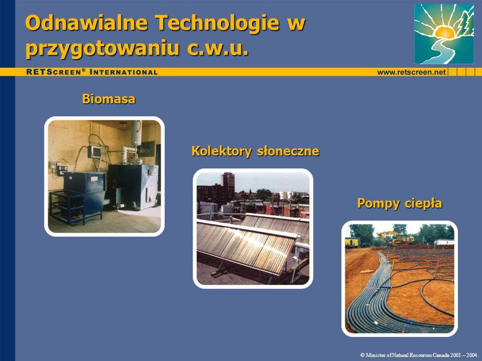 Odnawialne Technologie w przygotowaniu c.w.u. © Minister of Natural Resources Canada 2001 – 2004. Biomasa Kolektory słoneczne Pompy ciepła