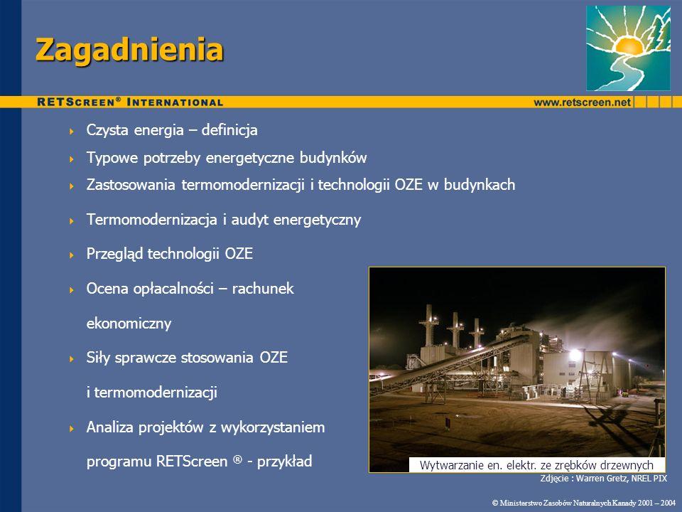 Wytwarzanie en. elektr. ze zrębków drzewnych Zagadnienia Czysta energia – definicja Typowe potrzeby energetyczne budynków Zastosowania termomodernizac