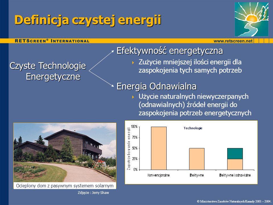 Definicja czystej energii Efektywność energetyczna Zużycie mniejszej ilości energii dla zaspokojenia tych samych potrzeb Energia Odnawialna Użycie nat
