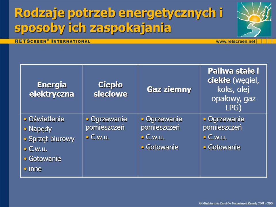 Rodzaje potrzeb energetycznych i sposoby ich zaspokajania © Ministerstwo Zasobów Naturalnych Kanady 2001 – 2004 Energia elektryczna Ciepło sieciowe Ga