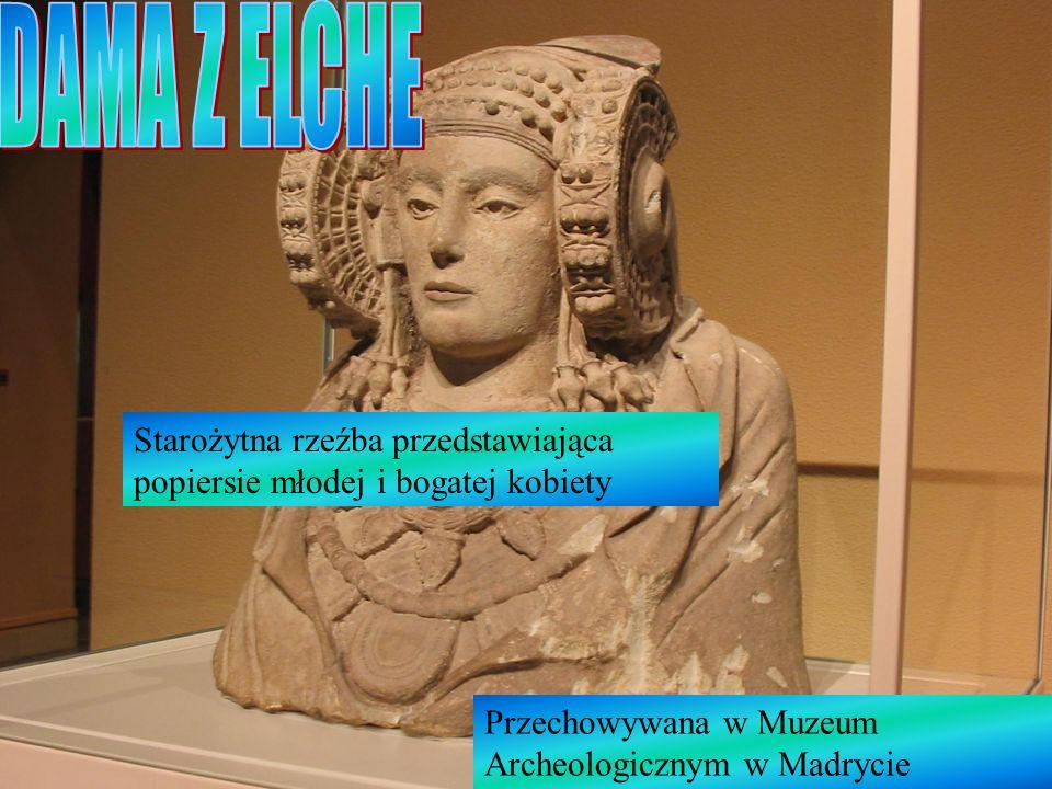 Starożytna rzeźba przedstawiająca popiersie młodej i bogatej kobiety Przechowywana w Muzeum Archeologicznym w Madrycie