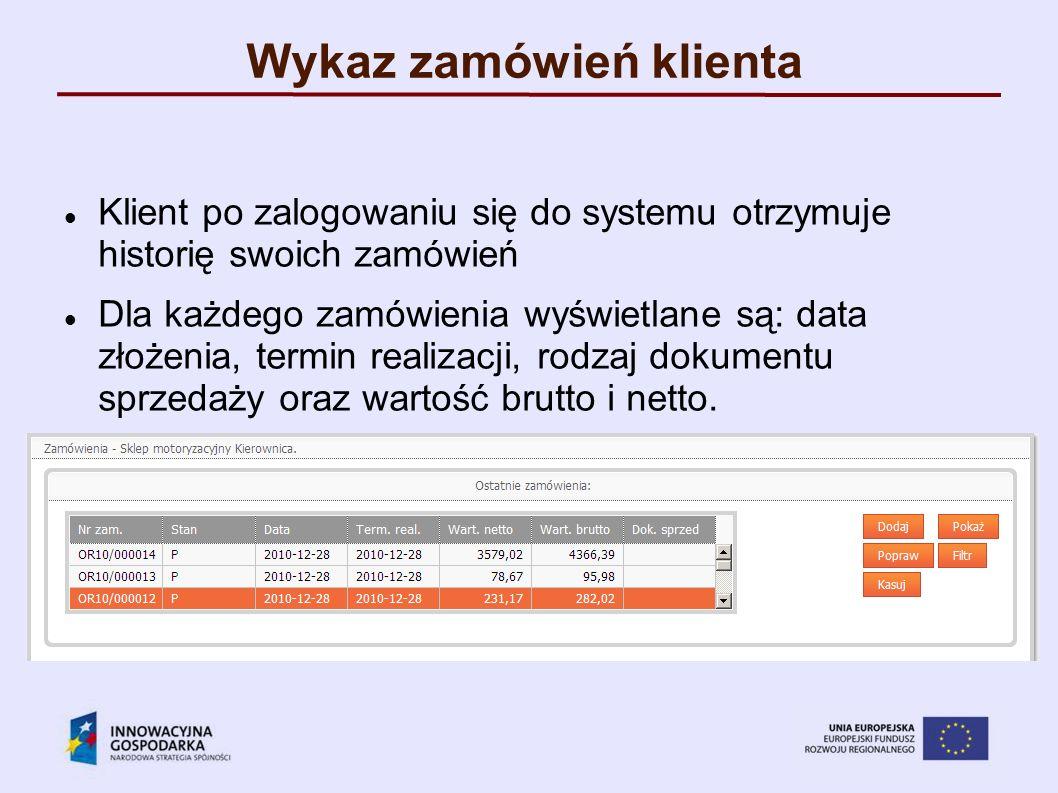 Wykaz zamówień klienta Klient po zalogowaniu się do systemu otrzymuje historię swoich zamówień Dla każdego zamówienia wyświetlane są: data złożenia, t