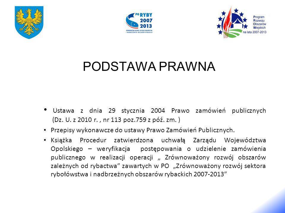 PODSTAWA PRAWNA Ustawa z dnia 29 stycznia 2004 Prawo zamówień publicznych (Dz.