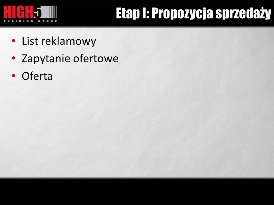 Etap I: Propozycja sprzedaży List reklamowy Zapytanie ofertowe Oferta