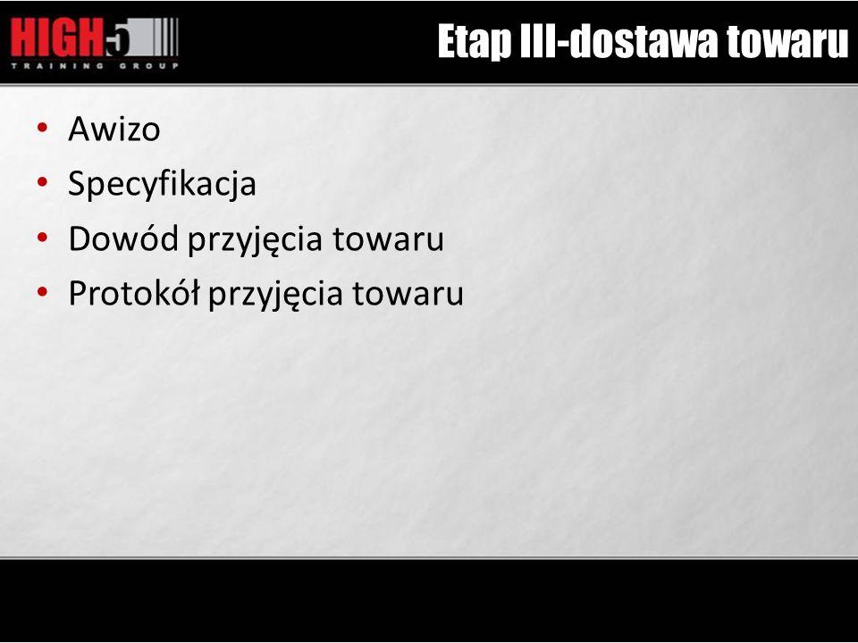 Etap III-dostawa towaru Awizo Specyfikacja Dowód przyjęcia towaru Protokół przyjęcia towaru
