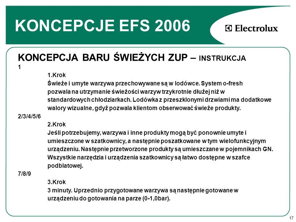 17 KONCEPCJE EFS 2006 KONCEPCJA BARU ŚWIEŻYCH ZUP – INSTRUKCJA 1 1.Krok Świeże i umyte warzywa przechowywane są w lodówce.
