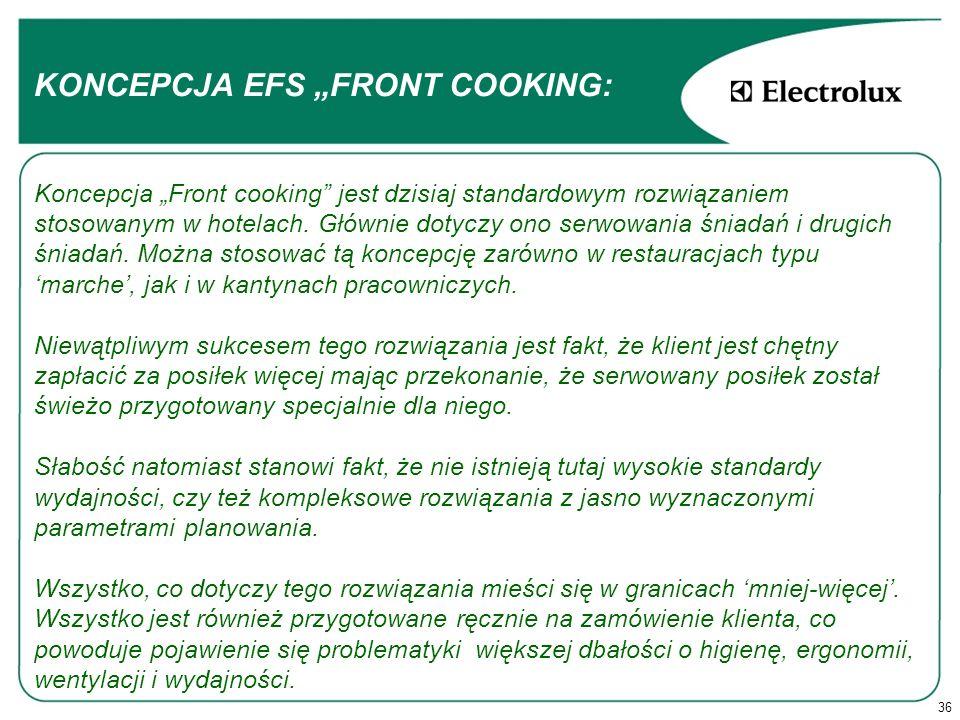 36 KONCEPCJA EFS FRONT COOKING: Koncepcja Front cooking jest dzisiaj standardowym rozwiązaniem stosowanym w hotelach.