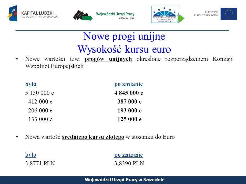 Nowe progi unijne Wysokość kursu euro Nowe wartości tzw.