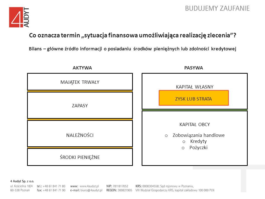 Co oznacza termin sytuacja finansowa umożliwiająca realizację zlecenia? Bilans – główne źródło informacji o posiadaniu środków pieniężnych lub zdolnoś