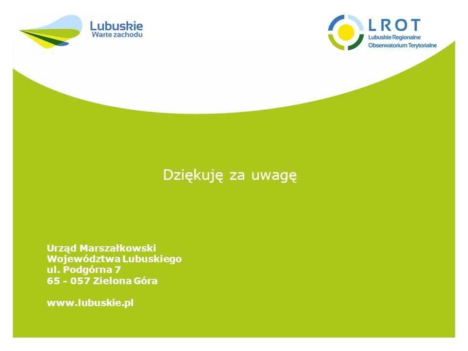 Dziękuję za uwagę Urząd Marszałkowski Województwa Lubuskiego ul.