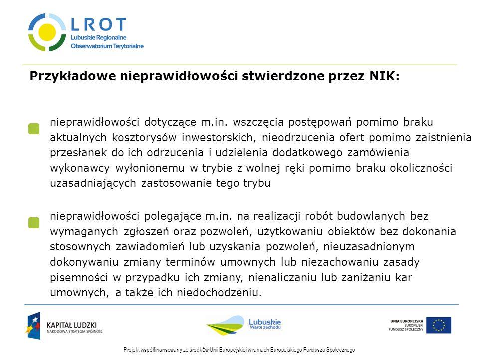 Przykładowe nieprawidłowości stwierdzone przez NIK: Projekt współfinansowany ze środk ó w Unii Europejskiej w ramach Europejskiego Funduszu Społecznego nieprawidłowości dotyczące m.in.