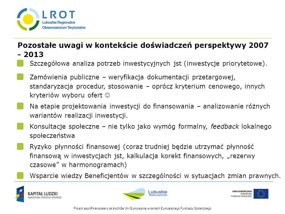 Pozostałe uwagi w kontekście doświadczeń perspektywy 2007 - 2013 Projekt współfinansowany ze środk ó w Unii Europejskiej w ramach Europejskiego Funduszu Społecznego Szczegółowa analiza potrzeb inwestycyjnych jst (inwestycje priorytetowe).
