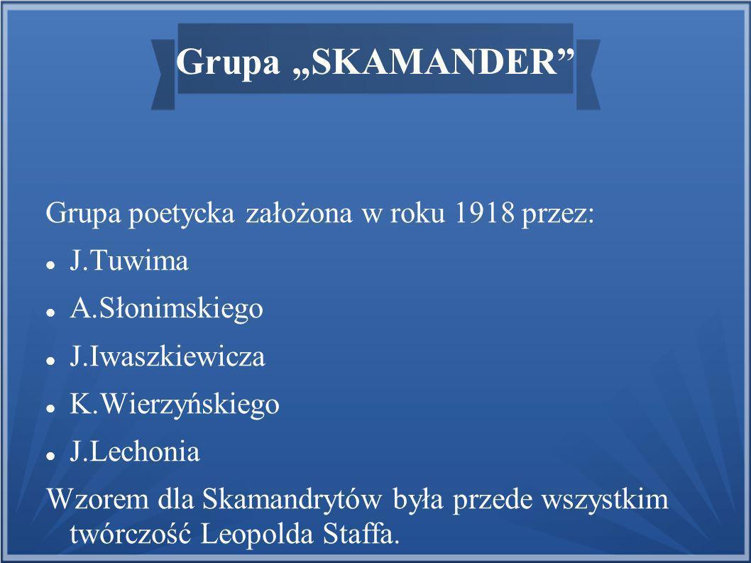 Grupa SKAMANDER Grupa poetycka założona w roku 1918 przez: J.Tuwima A.Słonimskiego J.Iwaszkiewicza K.Wierzyńskiego J.Lechonia Wzorem dla Skamandrytów