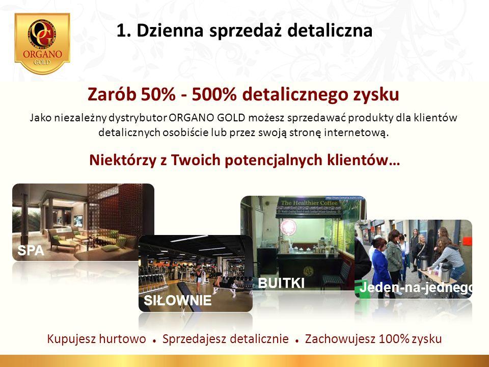 1. Dzienna sprzedaż detaliczna Zarób 50% - 500% detalicznego zysku Jako niezależny dystrybutor ORGANO GOLD możesz sprzedawać produkty dla klientów det