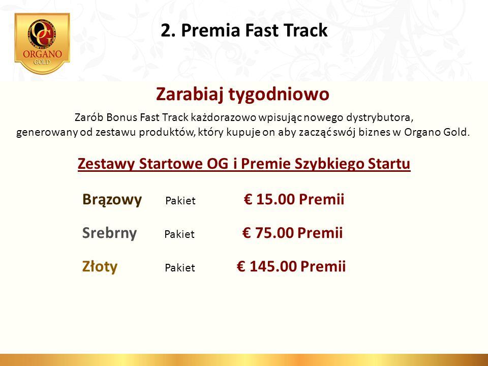 2. Premia Fast Track Zarabiaj tygodniowo Zarób Bonus Fast Track każdorazowo wpisując nowego dystrybutora, generowany od zestawu produktów, który kupuj