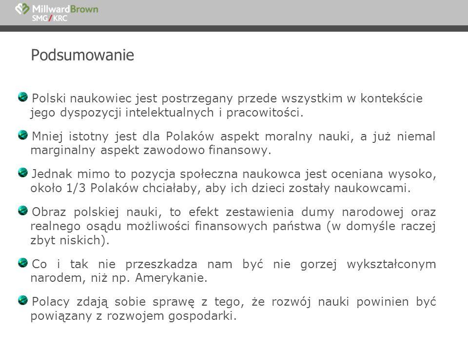 Podsumowanie Polski naukowiec jest postrzegany przede wszystkim w kontekście jego dyspozycji intelektualnych i pracowitości. Mniej istotny jest dla Po