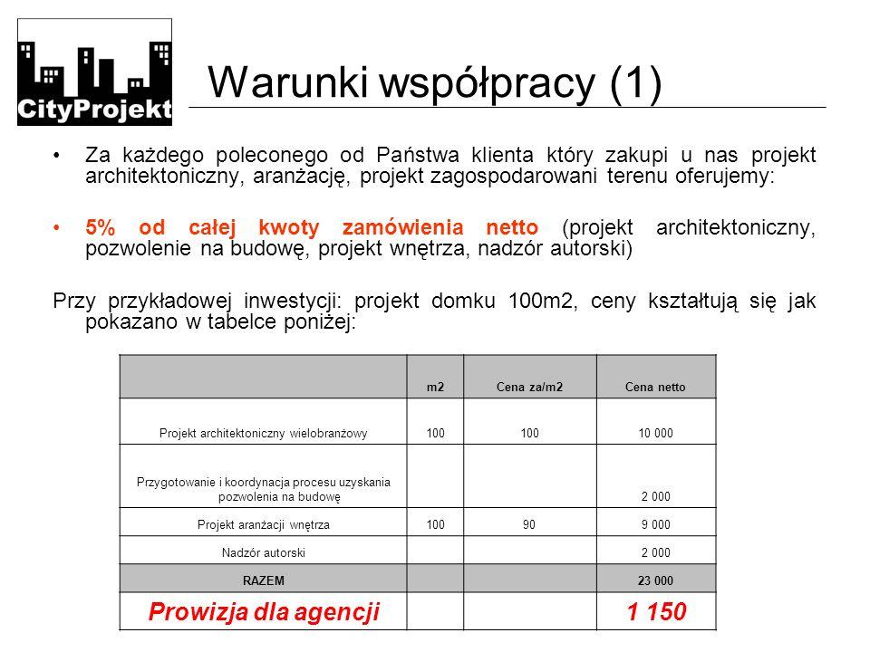 Warunki współpracy (1) Za każdego poleconego od Państwa klienta który zakupi u nas projekt architektoniczny, aranżację, projekt zagospodarowani terenu oferujemy: 5% od całej kwoty zamówienia netto (projekt architektoniczny, pozwolenie na budowę, projekt wnętrza, nadzór autorski) Przy przykładowej inwestycji: projekt domku 100m2, ceny kształtują się jak pokazano w tabelce poniżej: m2Cena za/m2Cena netto Projekt architektoniczny wielobranżowy100 10 000 Przygotowanie i koordynacja procesu uzyskania pozwolenia na budowę 2 000 Projekt aranżacji wnętrza100909 000 Nadzór autorski 2 000 RAZEM 23 000 Prowizja dla agencji 1 150
